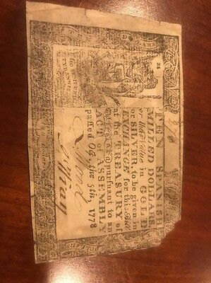 Colonial Virginia $10 Spanish Milled Dollars Oct 5,1778 Currency RARE Note USA