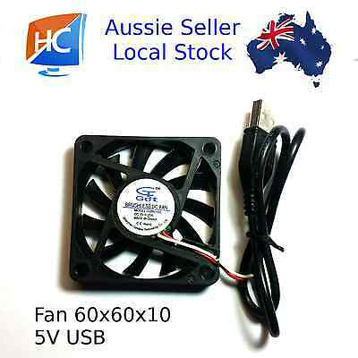 Brushless Cooling Case Fan 60mm x 60mm x 10mm 5V USB - Aussie Seller
