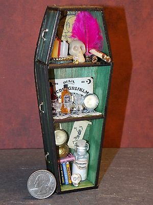 Dollhouse Miniature Halloween Wood Coffin Shelf  Green 1:12 one inch scale G81
