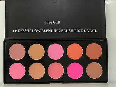 MAKEUP BLUSH PALETTE STRONG PIGMENT 10 COLORS Free Gift!