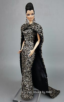 Eaki Evening Dress Outfit Gown Fits Silkstone Barbie Fashion Royalty Purple FR