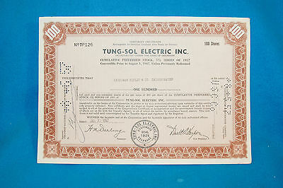 Vintage 1957 Tung-Sol Electric Inc. Temporary Stock Certificate - 100 Shares