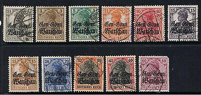 Poland 1916 - 17 German Stamps Overprinted