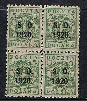 Poland 1920 Polish Stamps Overprinted For Silesia - Block Of 4