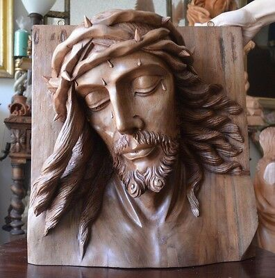 Hand Carved  wood Christ Jesus Head  sculpture panel religious santo