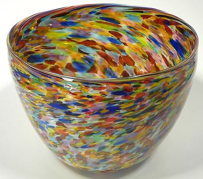 Very Large Hand Blown Glass Art Bowl / Vase - Italian Style - End Of Day Glass®