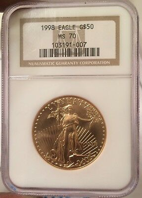 Perfect 1998 $50 1 Oz GOLD EAGLE NGC  MS70 Scarce In MS 70
