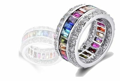 NEW Silver Ruby Emerald Sapphire Topaz Multicolor Gemstone Ring Size 6-10