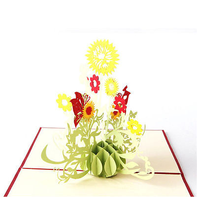 US 3D Paper Card Carving Pop Up Valentine Christmas Sunflower Greeting Gifts