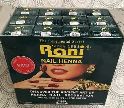 12 x RANI NAIL Henna Paste Red Color 6g Each Made In Saudia