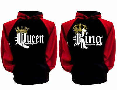 King Queen Classic Matching Couple Black Red Hoodie Sweater Lover Sweatshirt L