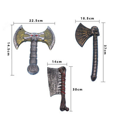 3pcs Plastic Halloween Costume Props Weapon Axe Kid Trick Toys Party Cosplay