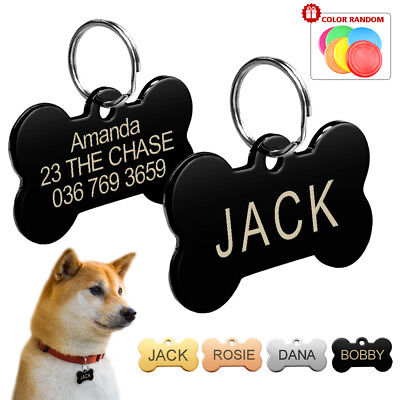 Bone Dog Tags Disc Engraved Pet Puppy Cat ID Name Collar Tags + Flying Disc S L