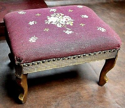 Vintage Antique Cross Stitch Needlepoint Foot Stool Floral Red