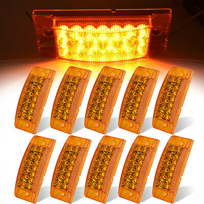 "(10) 6"" Amber Sealed Rectangular Clearance Marker Lamp LED Truck Trailer Light"