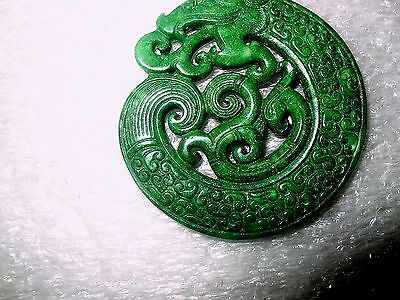 Spinach Green  Jade Dragon Amulet