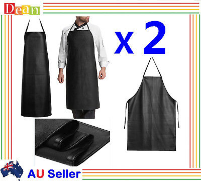 2X PU Leather Waterproof Waiter Chef Kitchen Cooking Welding Blacksmith Apron