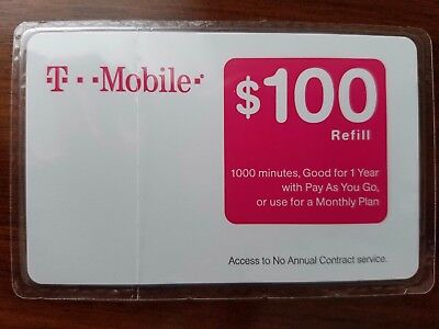 T-Mobile $100 Prepaid Refill Card - Physical New Sealed
