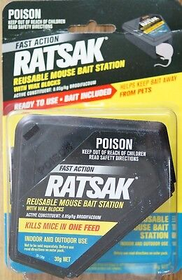 Ratsak Reusable Mouse Bait Station Brodifacoum Bait Included Indoor & Outdoor