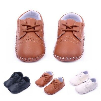 0-12M Baby Girl Boy PU Leather Crib Shoes Kids Soft Sole Loafers Toddler Shoe AU