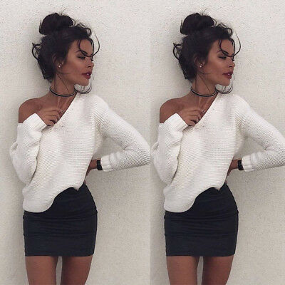 New Women Casual Long Sleeve Sweater Pullover Loose Tops  Blouse Knitwear