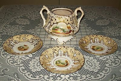 ANTIQUE 4pc POTTERY (pot w/no lid+3 saucers) diamond/kite mark 20 June 1848