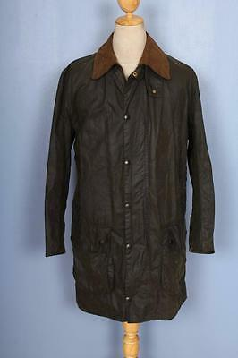 Mens BARBOUR Border WAXED Jacket Green Size 36