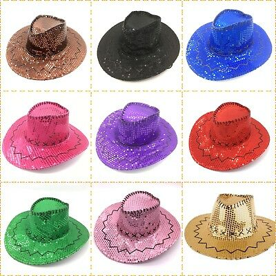 Sequin Cowboy Hat Kid's Adults 10 Colours