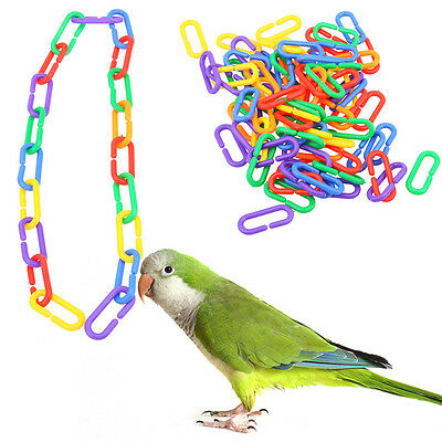 100 Pcs Toy Mix Color Pearl Chain Links Plastic Small Parrot Foot Bird Au Stock