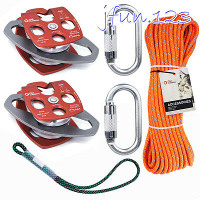 Set 32kN Pulley System Rope Carabiner Prusik for Block and Tackle System Lowerin