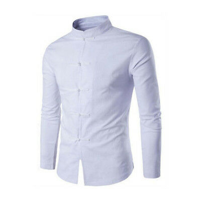 Mens Shirt Chinese Traditional Style Men Solid Color Mandarin Collar Male Shirt