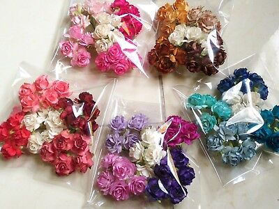 25 pcs Mix color Rose Flower Mulberry Paper Scrapbooking Card Crafts Wedding 3.5