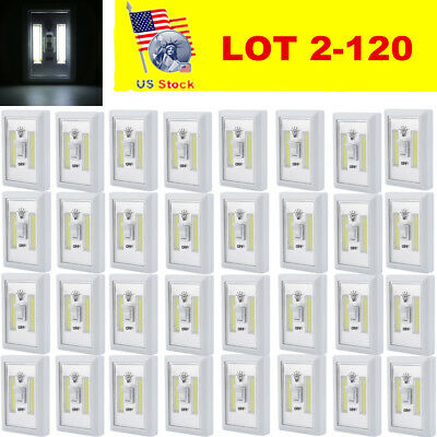 LOT COB LED Wall Lighted Switch Wireless Night Light Multi Use Self Stick MA
