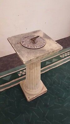 Brass Sundial Concrete Pedestal With Metal Outdoor Clock Backyard Function Art