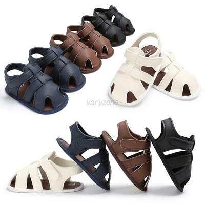 Toddler Infant Kids Baby Boys Sandals Soft Soled PU Leather Casual Hollow Shoes