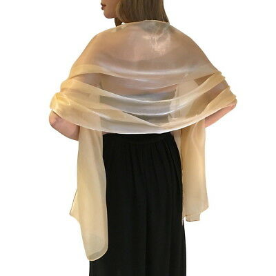 Silky Iridescent Bridal Bridesmaid Wedding Prom Shawl Stole Wrap Pashmina