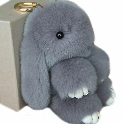 Lady Adorable Real Fur Bunny Fluffy Rabbit Keyring Bag Charm Pendant Keychain R5