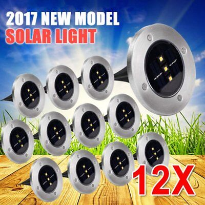 12x Solar Powered LED Buried Inground Recessed Light Garden Outdoor Deck Path HH