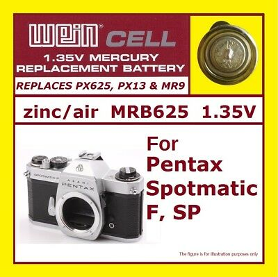 For PENTAX SPOTMATIC F (only F)  - 1.35 V Battery WeinCell MRB625 PX625 PX13 MR9