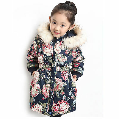 2017 New Girls Coat Warm Fur Collar Hooded Winter Jacket With Floral for 2-11T