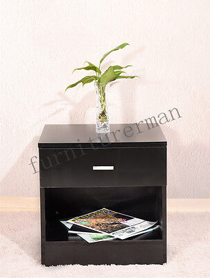 Bedside Cabinet 1 Drawer Black Gloss Bedroom Chest of Drawer Nightstand Table UK