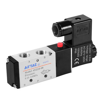 "12V/24V/220V 5-Way 2-Position 1/4"" 1/8"" Solenoid Valve Pneumatic Air Control"