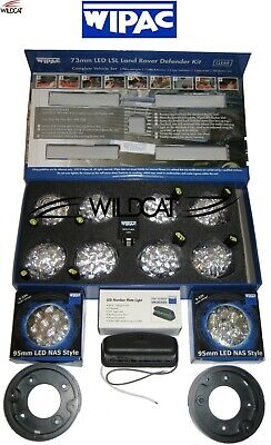 LAND ROVER DEFENDER WIPAC LED CLEAR LIGHT SET - 11 LAMPS, RELAY & 2 x PLINTHS