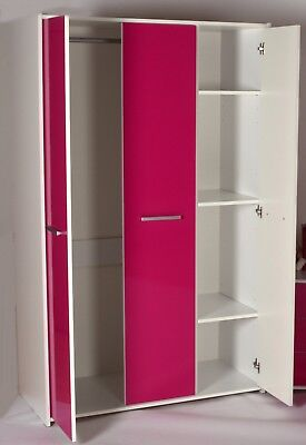 Shelby 3 Door Wardrobe in White Effect with Pink Gloss Doors