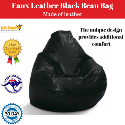 Faux Leather Bean Bag 200L Sofa Chair Seat Cushion Lounge Beanbag Black Large