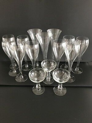 Lot of 20 Vintage Hollow Stem Champagne Flutes Various Sizes