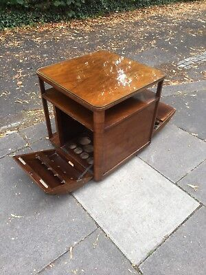 50s Walnut Incorporall Coffee Table Drinks Cabinet Record Cabinet Desk Rare