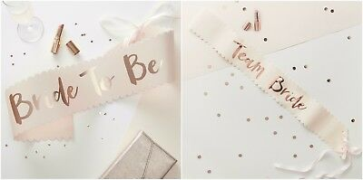 Pink & Rose Gold Bride To Be / Team Bride / Bridesmaid  Sash - Classy Sashes Hen