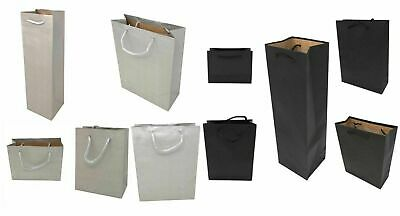 12 Pack Gift Bags Corded Handles Black Silver Wholesale Kraft Paper Gifts Bulk