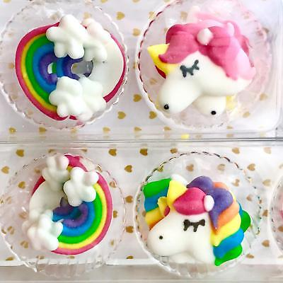 Unicorn & Rainbows Sugar Piping Sprinkles Cake Cupcake decorations Topper 12 pck
